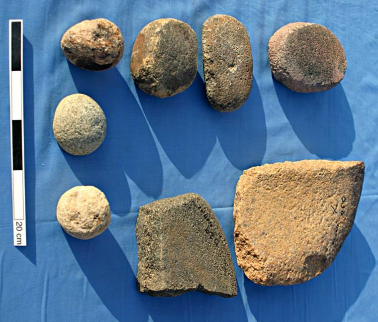A collection of some of the stones used by ancient Kushites to grind up gold ore.
