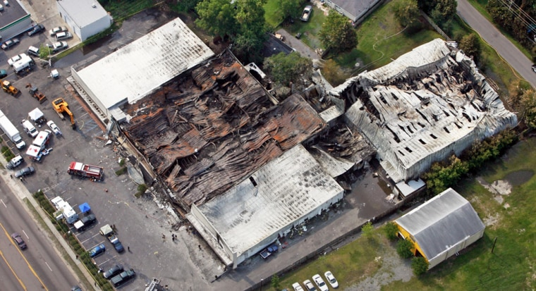 An aerial view of the remains of the Sofa Super store in Charleston, S.C.