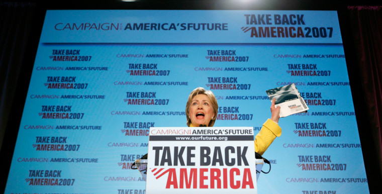 "U.S. Senator and Democratic Presidential candidate Hillary Rodham Clinton speaks at the 2007 ""Take Back America"" conference in Washington"