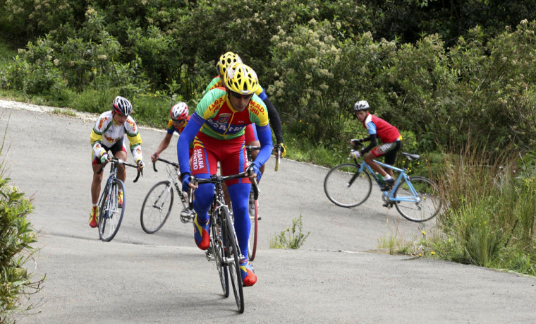Members of the Sabana Centro team ride during a training for the upcoming tour of Colombia in Chia, Colombia on June 7.