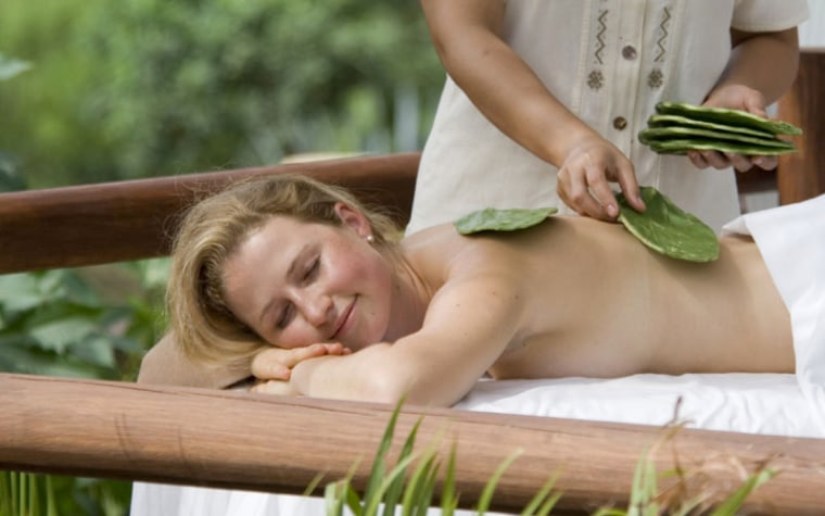 Relaxation is the point of the Hakali Massage at Apuane Spa at the  (Punta Mita,). The treatment provides a distinctly Mexican flair using spine-free cactus paddles to massage in a blend of nopal, a prickly pear cactus, and pulque, an alcohol made from the agave plant and a predecessor to modern-day tequila.