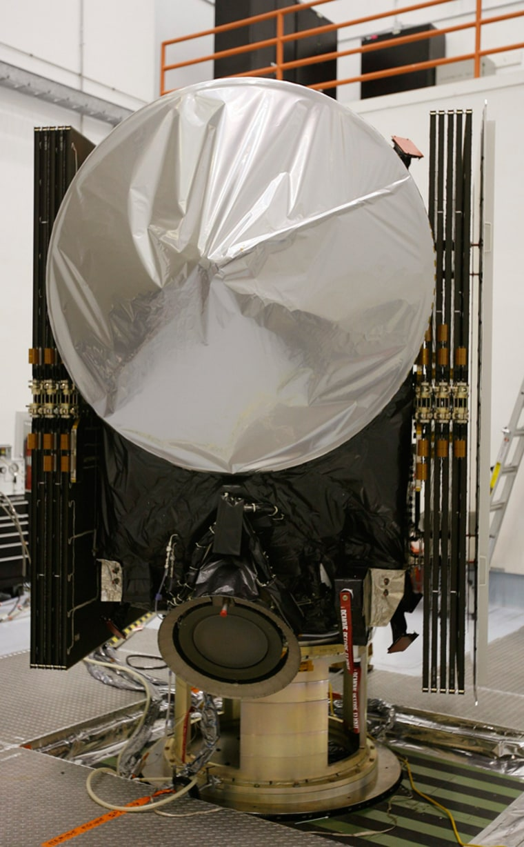 NASA's Dawn spacecraft is shown in the clean room at Astrotech in Titusville, Florida