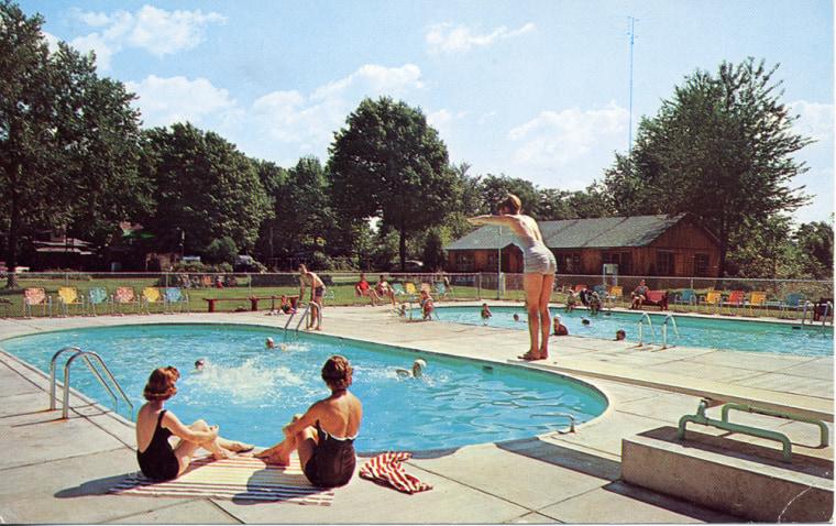This 1940s photo shows swimmers at the Pennellwood Resort in Berrien Springs, Mich. For more than a century, parents and children have reconnected at Pennellwood Resort, which during the summer offers getaway weekends as well as weeklong vacations in a wooded setting on 24 acres alongside Lake Chapin in Berrien Springs, about 70 miles east of Chicago in southwestern Michigan.