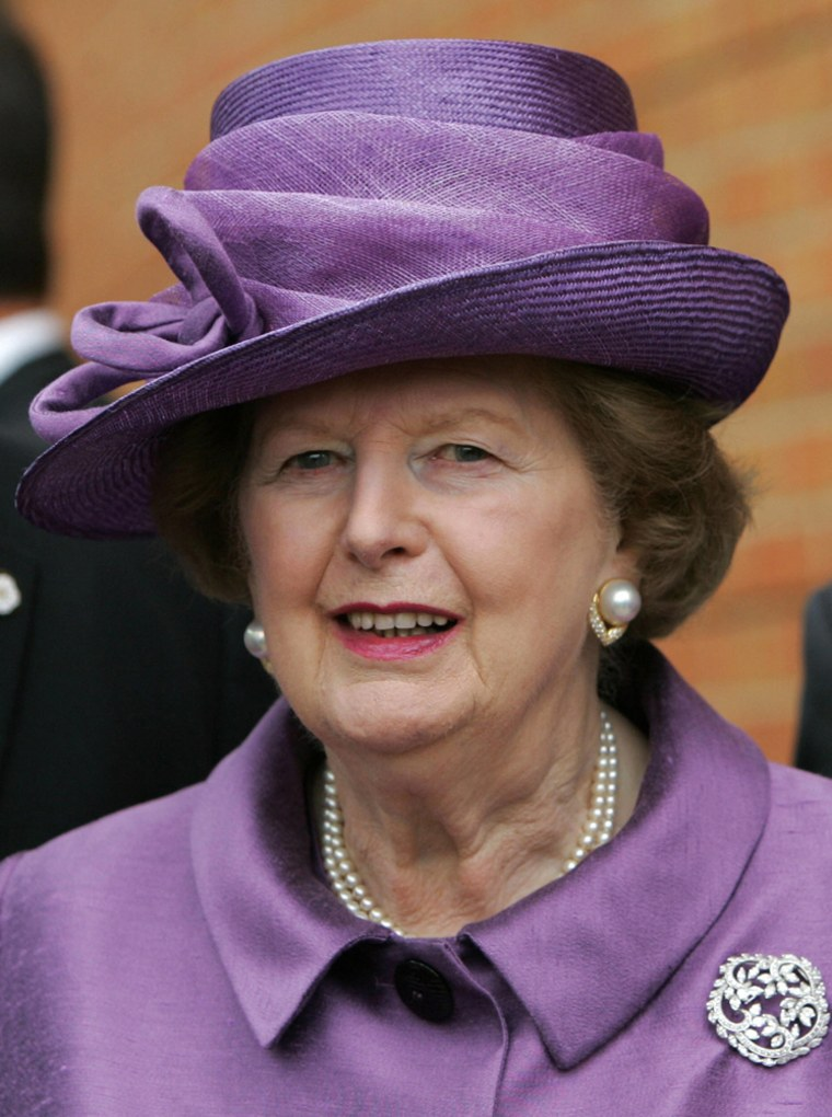 Baroness Thatcher at a church service to