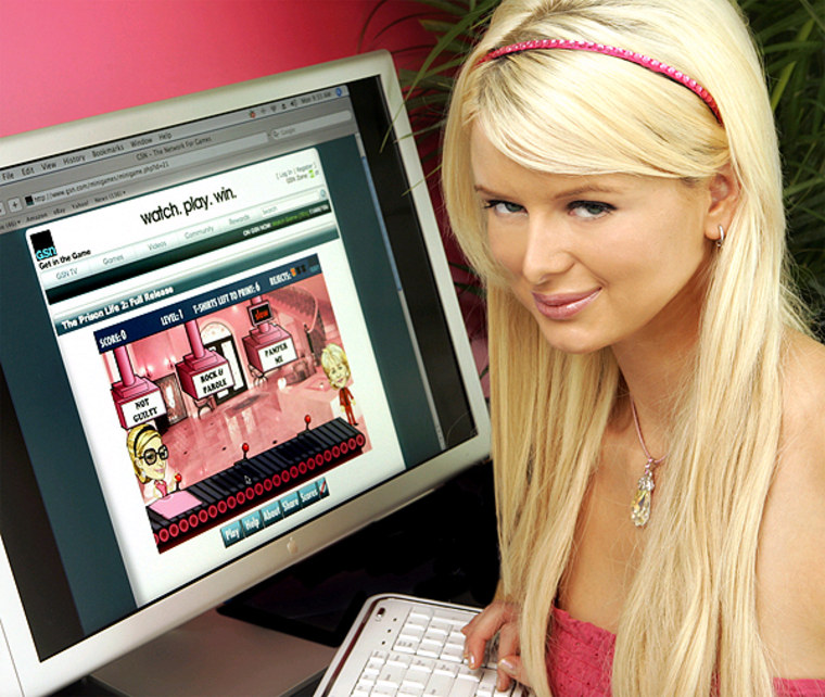 """Paris Hilton lookalike Natalie Reid is seen playing GSN's latest online game """"Prison Life 2: Full Release."""" No word ifwhether at the end of the game Paris finds her lost panties."""