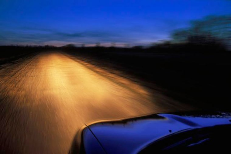 Driver's View Of Road At Twilight