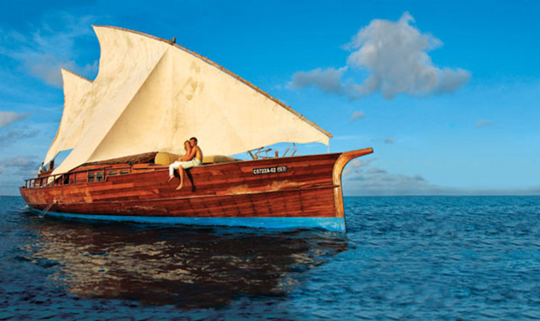 Take to the seas in your own luxurious wooden yacht, which comes with every bungalow at Don Mighili in the Maldives.