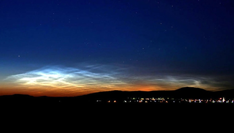 This image shows one of the first ground sightings of noctilucent clouds this years over Budapest, Hungary, on June 15.