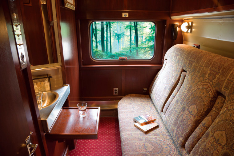 A typical sleeper car operated by GrandLuxe Rail Journeys. Under a new partnership between GrandLuxe and Amtrak, seven GrandLuxe cars will be attached to some regularly scheduled Amtrak trains.