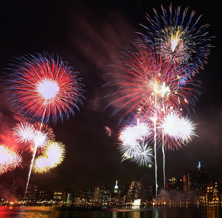 It takes some precise chemistry and physics to pull off multicolored displays like this Fourth of July fireworks show over the Manhattan skyline.
