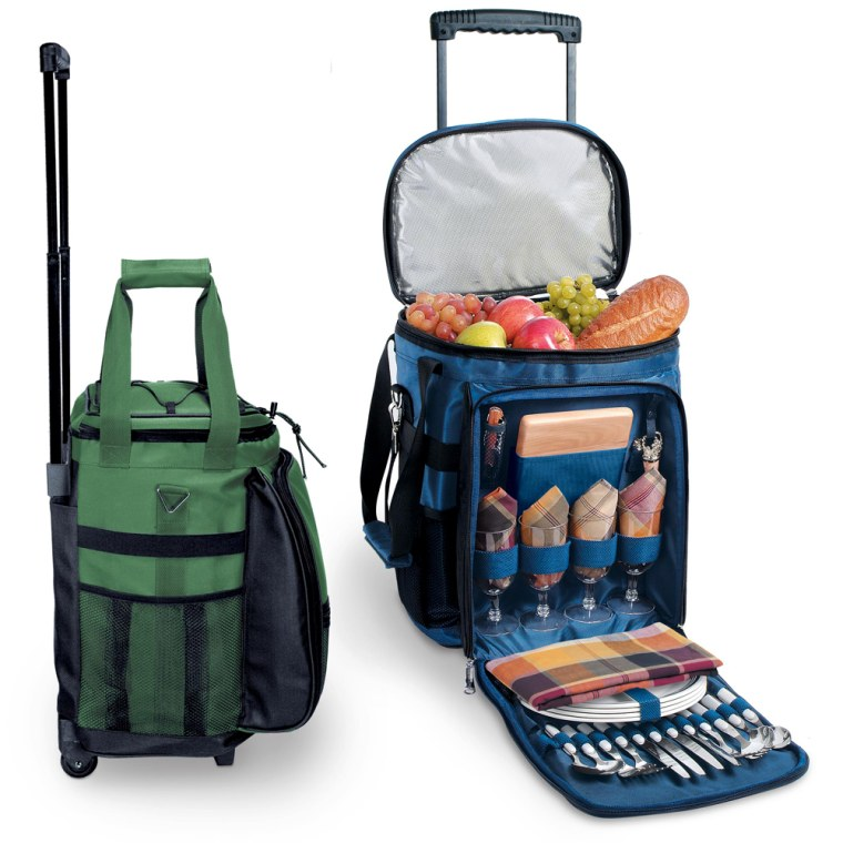 California-based company Picnic Time have been manufacturing high-quality picnic baskets since 1982, and this mobile rolling cooler with a 36-can capacity food section, waterproof lining, and thermoguard insulation to keep drinks cold is the best of the lot.