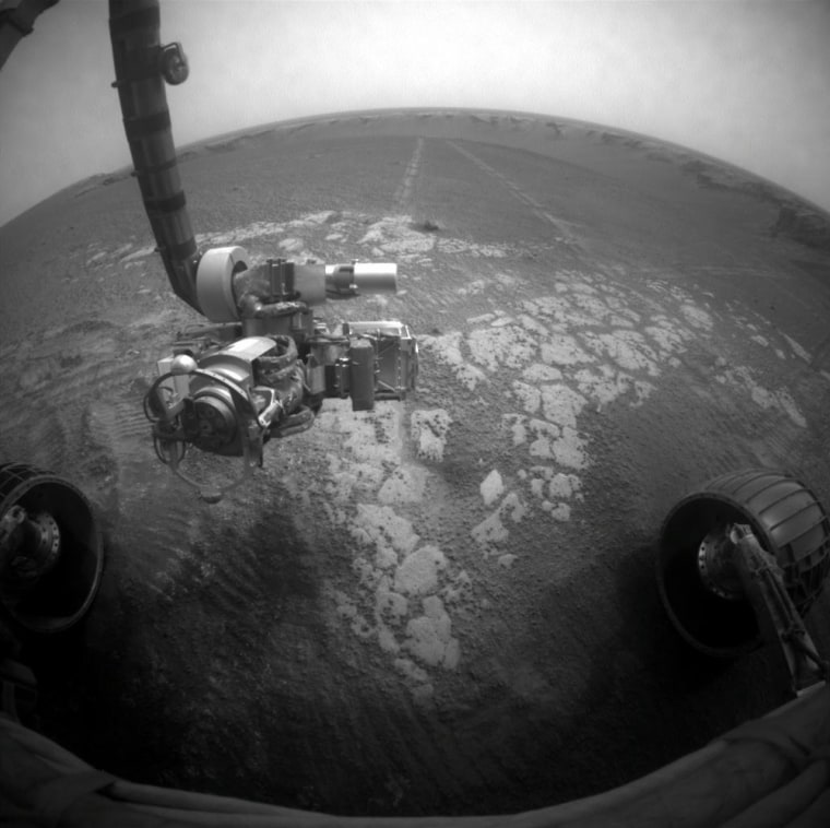 The Opportunity rover takes a picture of its own instrument-laden robotic arm against a backdrop of the Martian landscape around Victoria Crater. This photo was received July 3, as a dust storm was brewing.