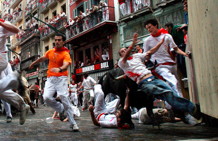Young man take part in the second bull run
