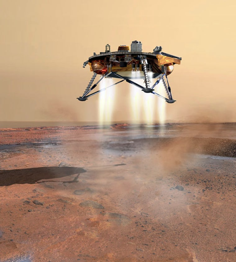 In an artist rendering, the Phoenix Lander lowers itself onto Mars using a set of powerful thrusters. No airbags for this tricky touch down on the red planet.