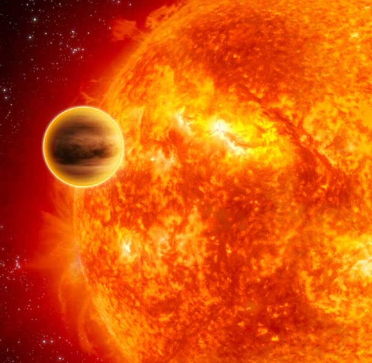 """An artist's impression shows a """"hot Jupiter"""" known as HD 189733b, huggingclose to its parent star.Astronomers saymost Jupiter-scaleworldsshould be formed in the inner regions rather than the outer reaches ofplanetary systems."""