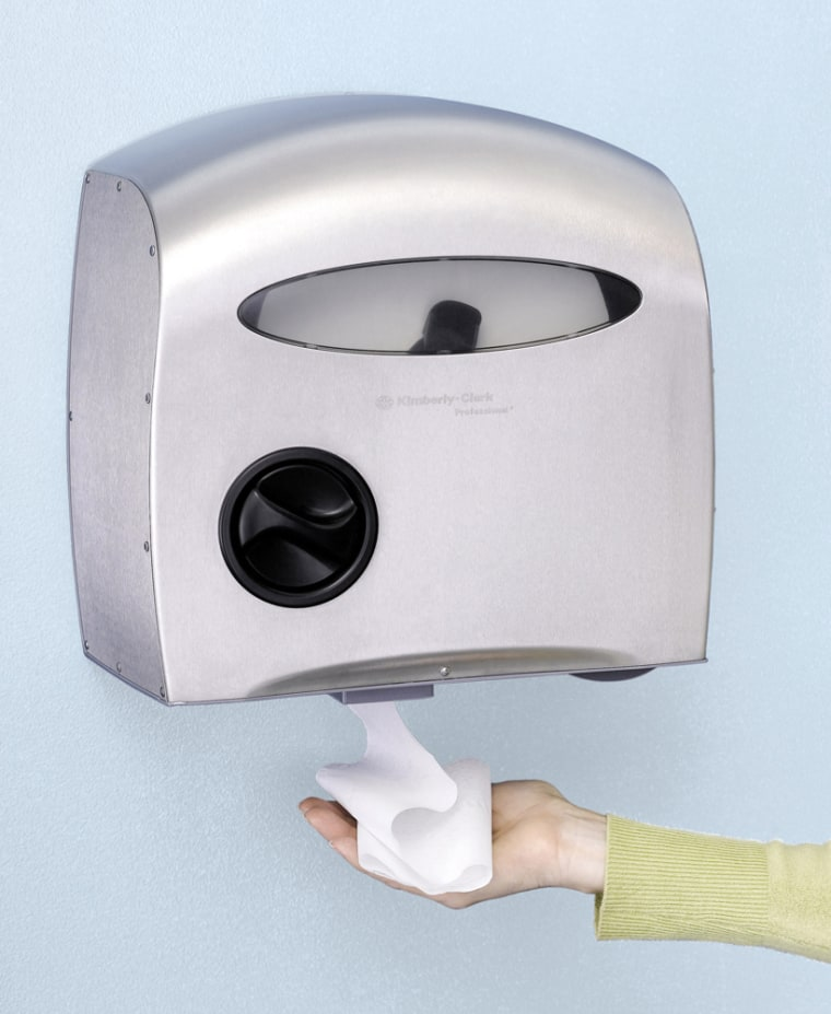 Kimberly-Clark's electronic toilet tissue dispenser is designed to roll back your penchant for paper.