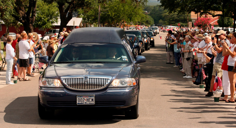 Cortege of former first lady Lady Bird Johnson through Johnson City, Texas.