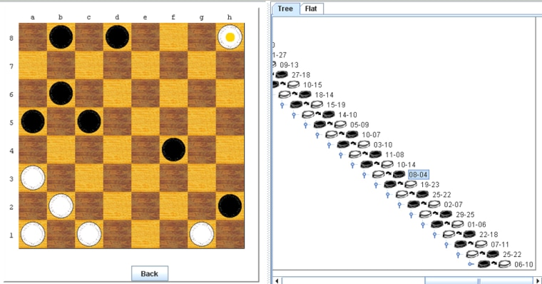 """This screen shot shows a """"tree"""" of checkers moves that can be used to verify the mathematical claims for the invincibility of theChinook game-playing program."""