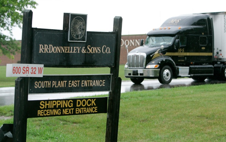 """A truck leaves the R.R. Donnelley & Sons Co. printing plant in Crawfordsville, Ind. Is the final Harry Potter book being made there? """"We have no comment on any title that we may or may not be printing,"""" a company official says."""