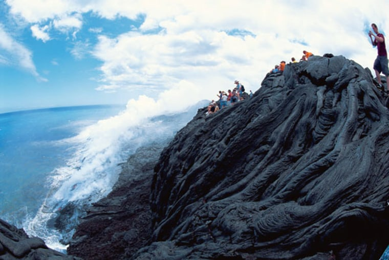 A dried lava flow from Kiluea. The eruption of Kilauea began Jan. 3, 1983, and lava flows since have created more than 500 acres of land along the coast.