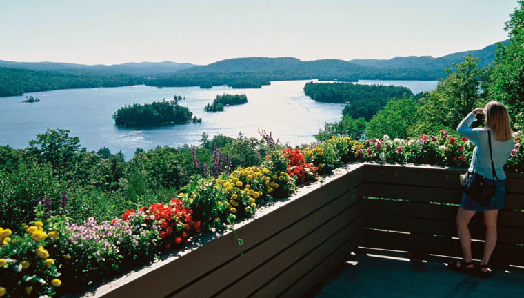 The Adirondack Museum overlooks spectacular Blue Mountain Lake in Blue Mountain Lake, N.Y.