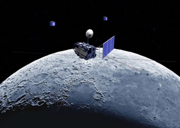 An artist's conception shows the Seleneorbiter and two smaller satellites circling the moon. Japan's space agency said the Selene launch had to be postponed because some components were improperly installed on the smaller satellites.