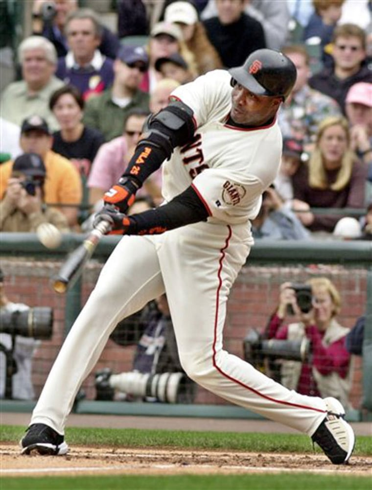 Barry Bonds, seen here, may be better at locking his eyes onto the ball than other hitters, according to new research that's beginning to unravel the secrets of effective hitters.