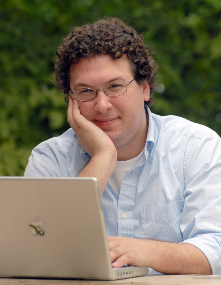 Kevin McGrath, a 25-year-old doctoral student at Indiana University whose e-mail was secretly hijacked for a university experiment, surfs the internet from his parents home, July 12, 2007 in Louisville, Ky.