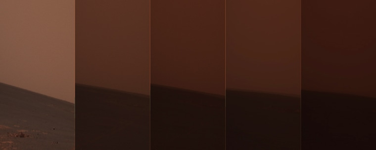 Rovers are managing to survive despite dust storms on Mars. This time-lapse composite image shows how Martian skies darkened over the 30 days beginning June 14.