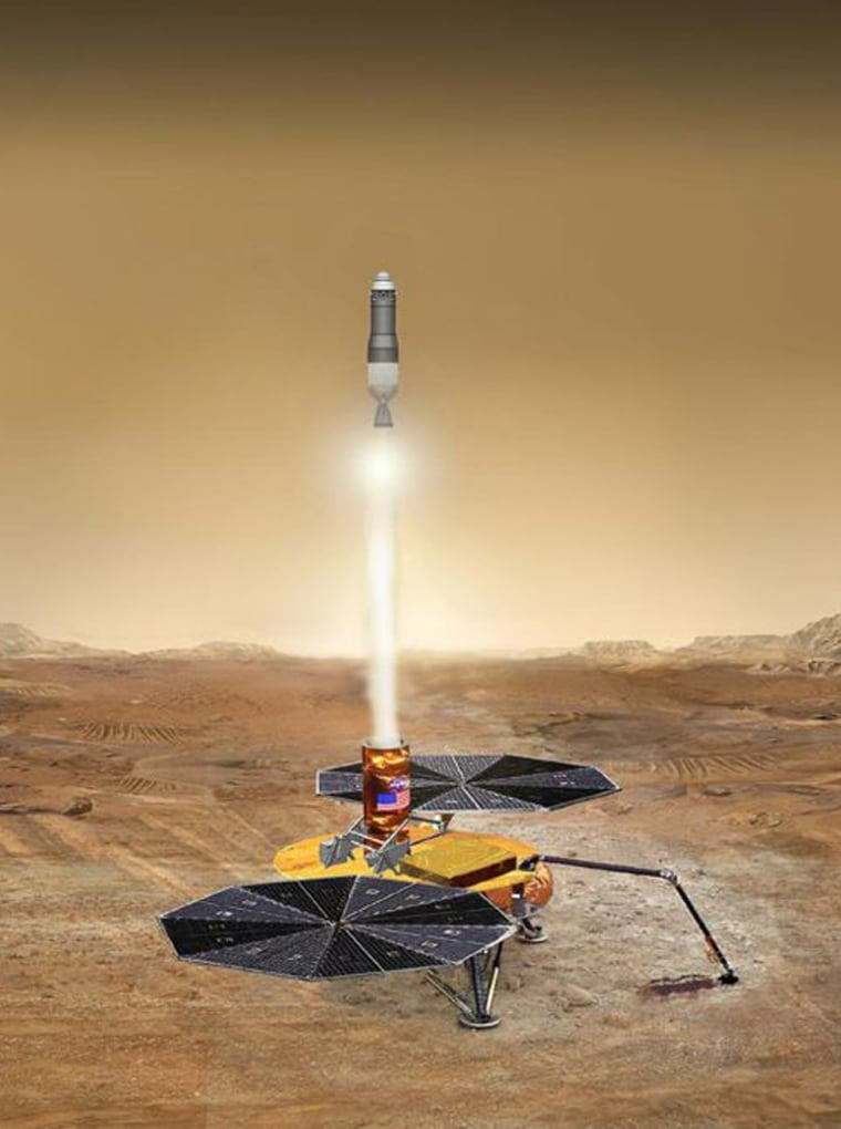 The Mars return-mission proposal, which isillustrated here, is creating controversy because of its cost.