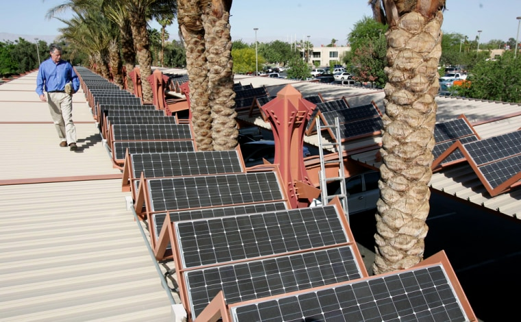 The city of Palm Desert, Calif., recently installed these solar panels atop the parking lot at City Hall.
