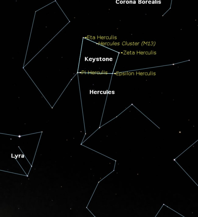 The constellation Hercules is directly overhead as seen at 9:30 pm local time from midnorthern latitudes.