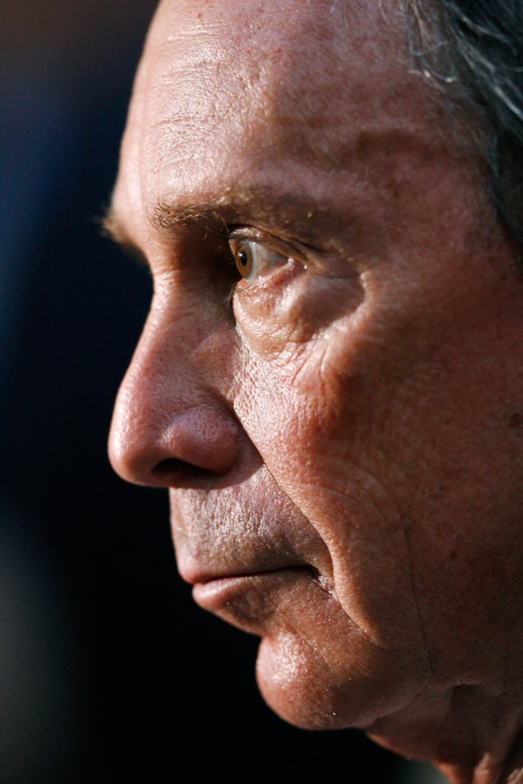 New York Mayor Michael Bloomberg attends a press conference to discuss an explosion near Grand Central Station in New York