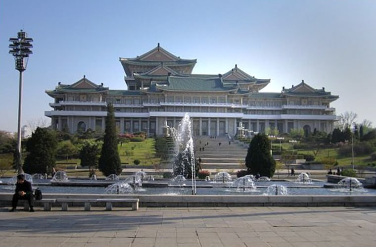 """The Grand People's Study House, Pyongyang's national library, spans 10 blocks and is said to house """"millions"""" of books """"where all people can study."""""""