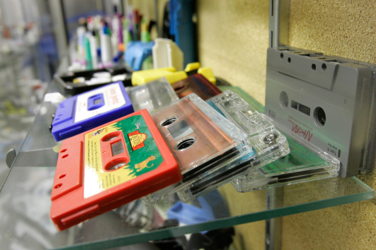 Various cassette products from the past are seen on display at the last cassette maker in North America, Lenco-PMC Inc., in Waverly, Neb.