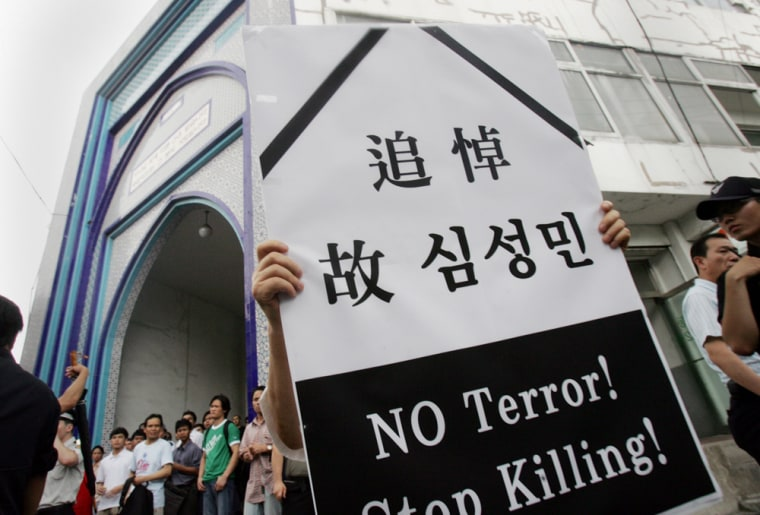 Protesters rally Friday in Seoul, South Korea, to demand the safe return of South Koreans kidnapped in Afghanistan.