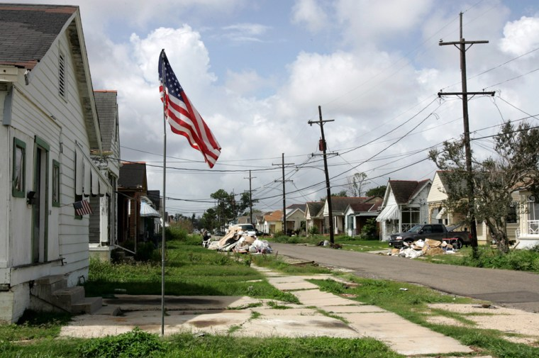 Many areas of New Orleans, such as this street in the 9th Ward, are still struggling to recover from Hurricane Katrina.