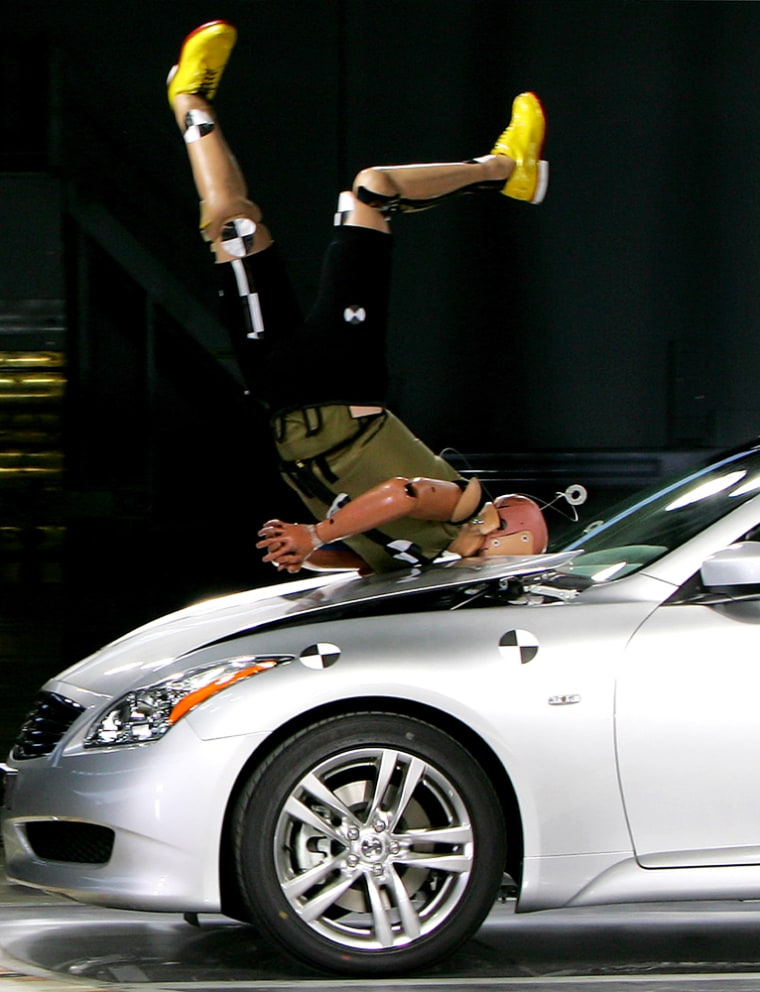 """A dummy is flipped over a car equipped with Nissan Motor Co.'s """"Pop Up Engine Hood For Pedestrian Protection"""" technology at the Japanese automaker's Oppama plant in Yokosuka, Aug. 6, 2007."""