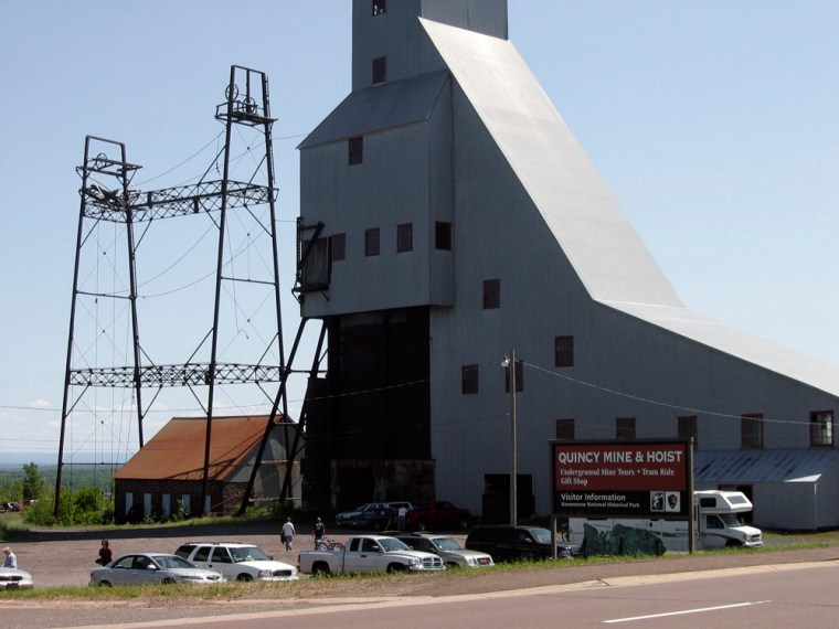 """The Quincy Mine Hoist building isone of the """"heritage sites"""" affiliated with the Keweenaw National Historical Park, near Hancock, Mich. As copper mining slowly died in Michigan's far north, civic leaders desperate to salvage the local economy proposed a national park to preserve the industry's historical and cultural legacy, and draw tourists."""