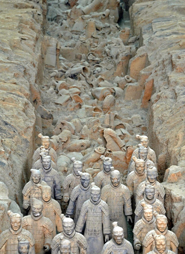 The largest ever loan of artifacts from China's famed terracotta army started on its way to London on Thursday. Artifacts and 20 of the statues will be displayed at the British Museum from Sept. 13 to April 6, 2008.
