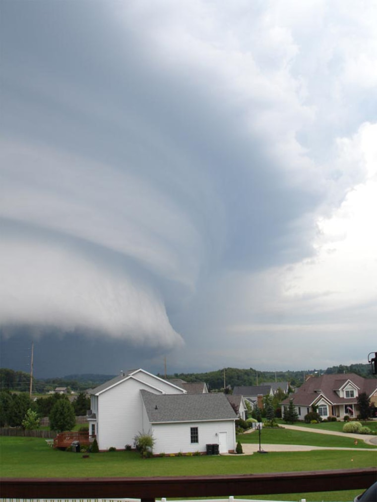 NBC affiliate WKYC obtained this stormphotograph from a viewer who said it was taken over Richland County, Ohio, on Thursday. The formation is known as asupercell, a well organized and notably intense thunderstorm.
