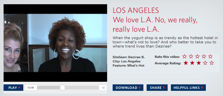 """Flight attendantDezirae Bridges stars in a five-minute Internet """"travelcast,""""about L.A.'s exclusive boutiques and places inHollywood that attract celebrities."""