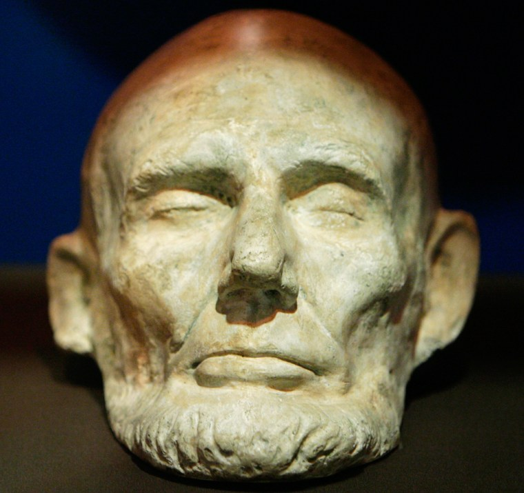 This plaster mold of Abraham's Lincoln's face, probably made from a bronze copy of a life mask made shortly before the president's death in 1865, ison displayat the Chicago History Museum.