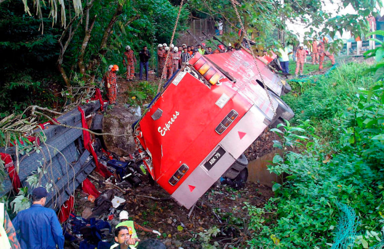 Malaysian bus crashed