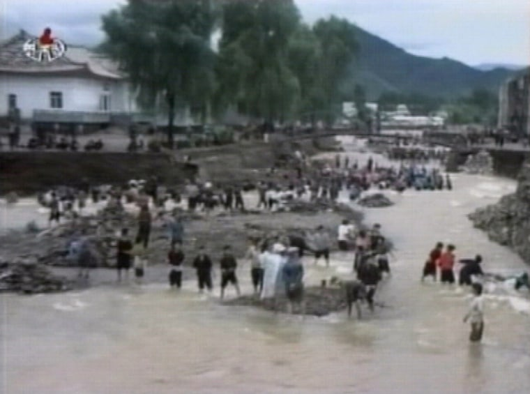 Video grab shows footage of floods from around the country in North Korea