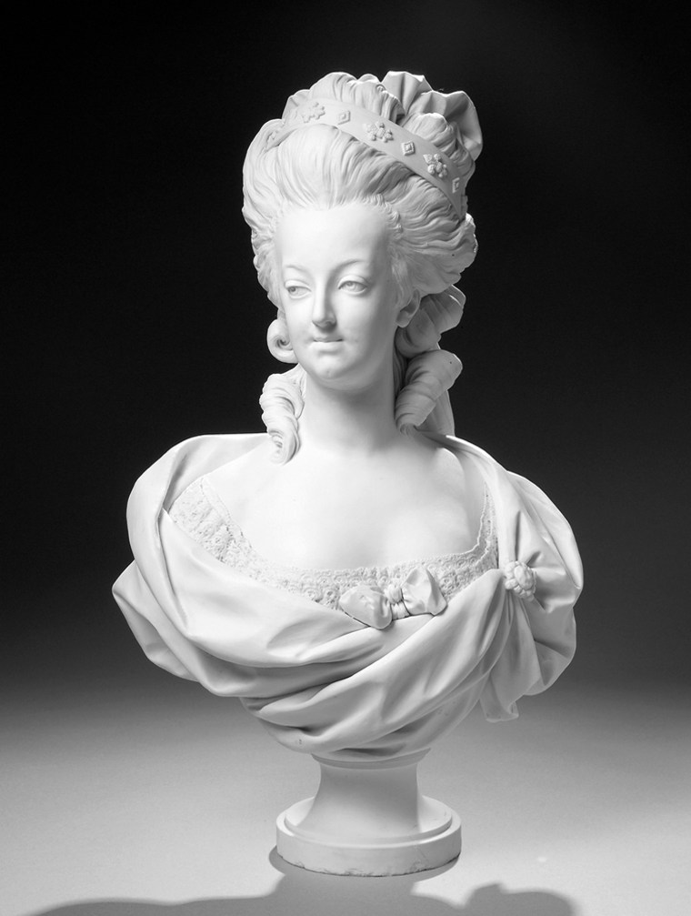 """Abust of Marie-Antoinette, 1782, by Svres Porcelain Manufactory at theexhibition, """"Artisan & Kings, Selected Treasures from the Louvre"""". More than 125 paintings, sculptures and decorative arts collected by the Sun King, Louis XIV, and his two successors, as well as works seized after the revolution or later by Napoleon, will be the first from the world art summit to ever travel to the western states."""