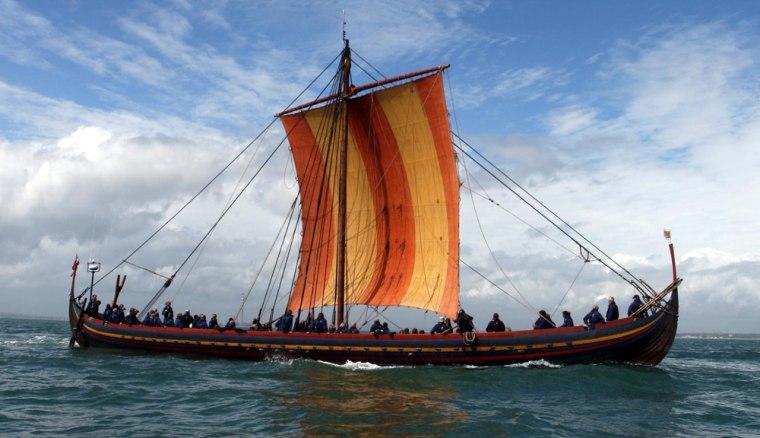 The Viking warship replica, the Sea Stallion of Glendalough, makes its way from Dublin Bay into Dublin Port, Ireland