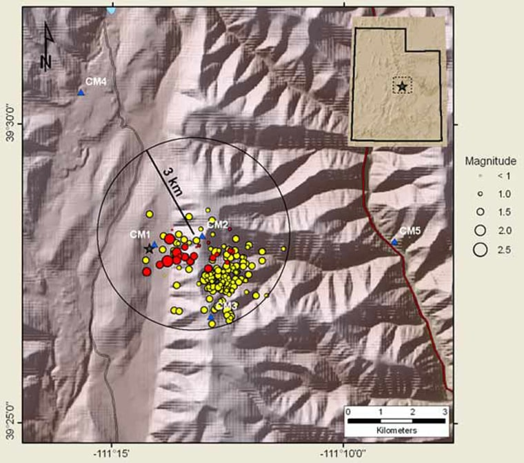 The Utah mine collapse triggered the seismic activity that killedand injured rescuersrather than a naturalearthquake. The graphic depicts the seismic eventswithin 1.9 miles of themain collapse, depicted by a star,and those before, yellow, and after, red, it. Temporary seismic stations indicated with blue triangles.