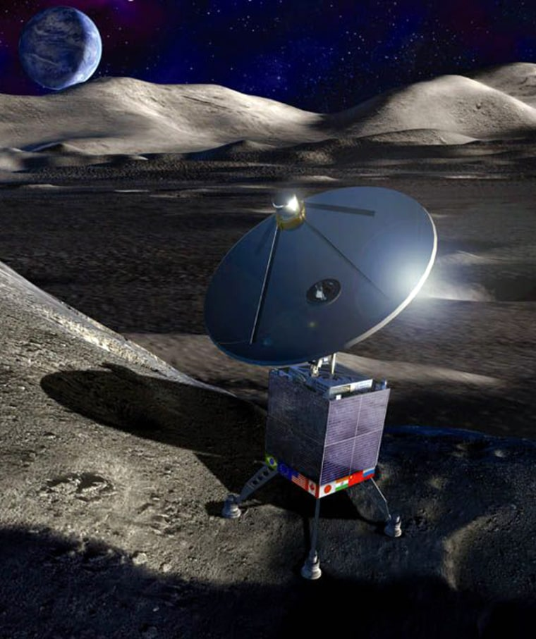 The International Lunar Observatory, shown in this artist's conception, could serve as a communication relay as well as a radio astronomy station.