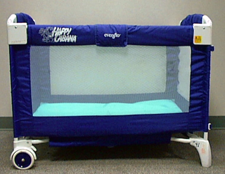Evenflo Happy Cabana portable play yards, above,were recalled because they could collapse and entrap a child. Fisher-Price Power Wheels Harley-Davidson motorcycles, aboveright, were recalled because the foot pedal could stick in the on position.